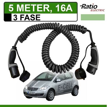 Laadkabel Mercedes A klasse e-Cell 5 meter 16A 3 fase -  Spiraal (Ratio)