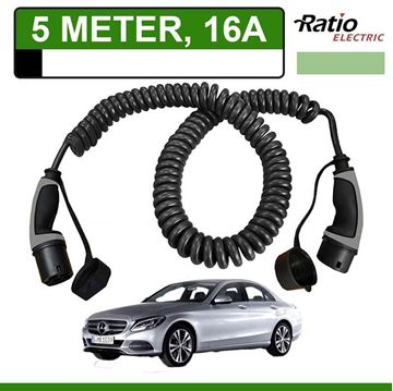 Laadkabel Mercedes C 350e Plug-In 5 meter 16A -  Spiraal (Ratio)