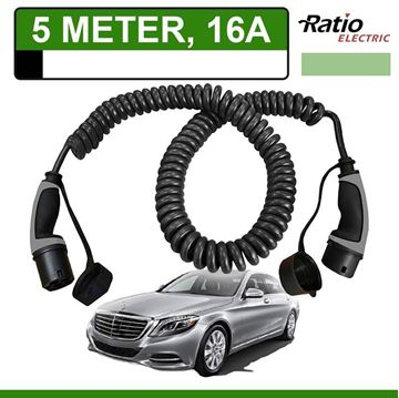 Laadkabel Mercedes S 500e Plug-In 5 meter 16A -  Spiraal (Ratio)
