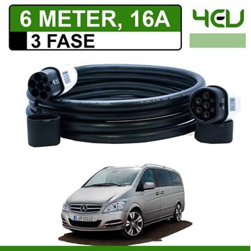 Laadkabel Mercedes Vito E-Cell 6 meter 16A 3 fase - Recht