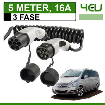 Laadkabel Mercedes Vito E-Cell 5 meter 16A 3 fase - Spiraal