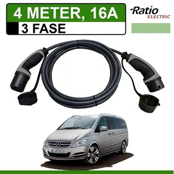 Laadkabel Mercedes Vito E-Cell 4 meter 16A 3 fase - Recht (Ratio)