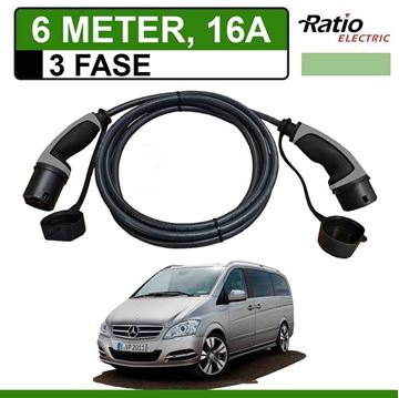 Laadkabel Mercedes Vito E-Cell 6 meter 16A 3 fase - Recht (Ratio)
