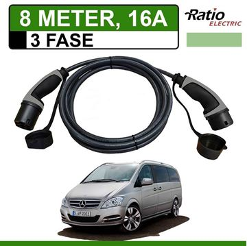 Laadkabel Mercedes Vito E-Cell 8 meter 16A 3 fase - Recht (Ratio)