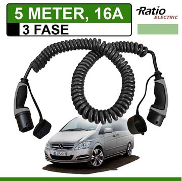 Laadkabel Mercedes Vito E-Cell 5 meter 16A 3 fase -  Spiraal (Ratio)