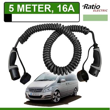 Laadkabel Mercedes Vito E-Cell 5 meter 16A -  Spiraal (Ratio)