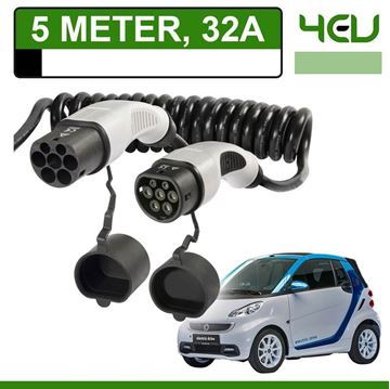 Laadkabel Smart Fortwo Electric Drive 5 meter 32A - Spiraal