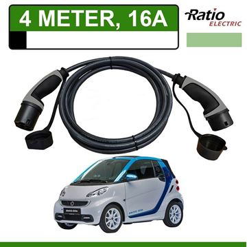 Laadkabel Smart Fortwo Electric Drive 4 meter 16A - Recht (Ratio)