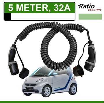 Laadkabel Smart Fortwo Electric Drive 5 meter 32A -  Spiraal (Ratio)