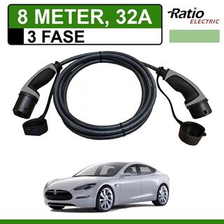 Laadkabel Tesla Model S 8 meter 32A 3 fase - Recht (Ratio)