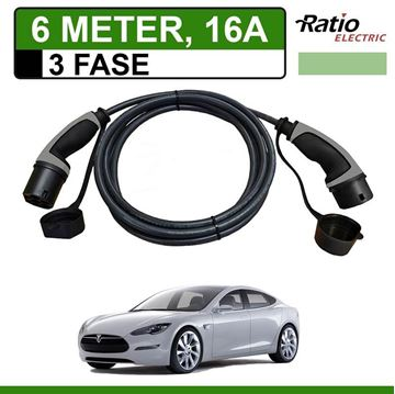 Laadkabel Tesla Model S 6 meter 16A 3 fase - Recht (Ratio)