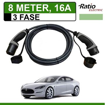 Laadkabel Tesla Model S 8 meter 16A 3 fase - Recht (Ratio)