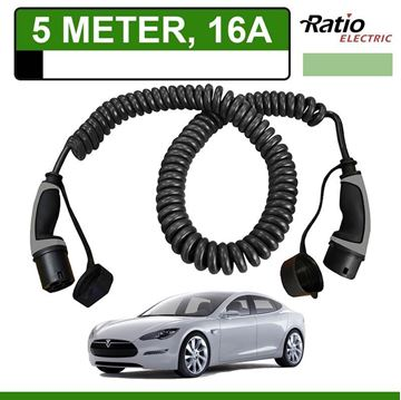 Laadkabel Tesla Model S 5 meter 16A -  Spiraal (Ratio)