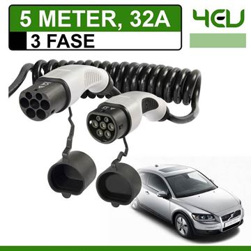 Laadkabel Volvo C30 Drive electric 5 meter 32A 3 fase - Spiraal