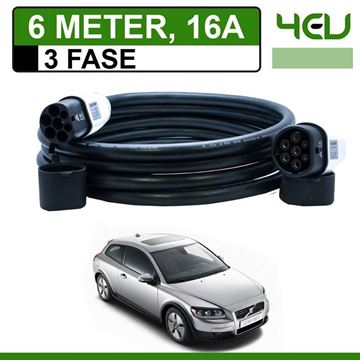 Laadkabel Volvo C30 Drive electric 6 meter 16A 3 fase - Recht