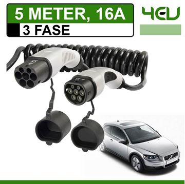 Laadkabel Volvo C30 Drive electric 5 meter 16A 3 fase - Spiraal
