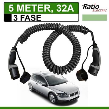 Laadkabel Volvo C30 Drive electric 5 meter 32A 3 fase -  Spiraal (Ratio)