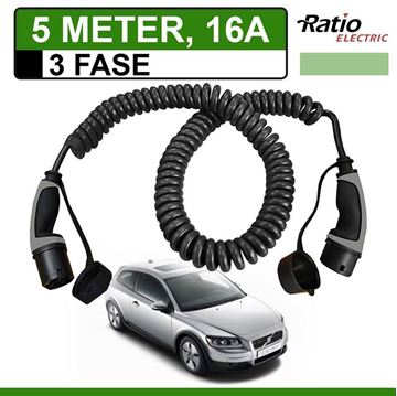 Laadkabel Volvo C30 Drive electric 5 meter 16A 3 fase -  Spiraal (Ratio)