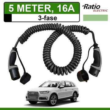Laadkabel Audi e-tron Quattro 5 meter 16A 3 fase - Spiraal (Ratio)