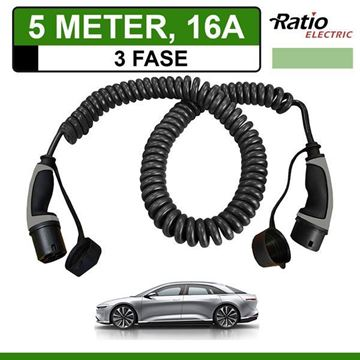 Ratio Laadkabel Lucid Air 5 meter 16A - Spiraal 3Fasen