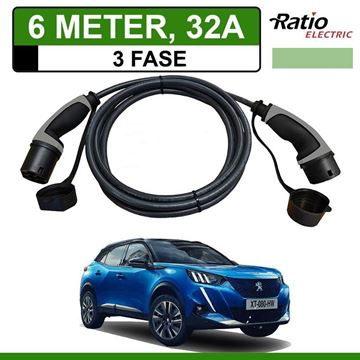 Laadkabel Peugeot e-2008 SUV 6 meter 32A 3 fase - Recht (Ratio)
