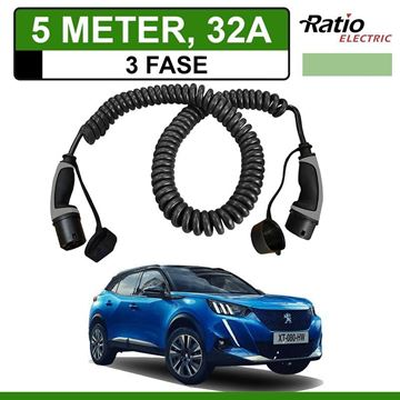 Laadkabel Peugeot e-2008 SUV 5 meter 32A 3 fase - Spiraal (Ratio)