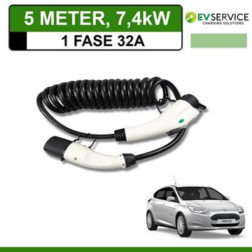 Laadkabel Ford Focus Electric 5 meter 32A - Spiraal