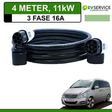Laadkabel Mercedes Vito E-Cell 4 meter 16A 3-fase - Recht