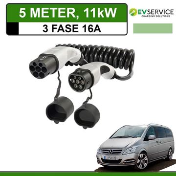 Laadkabel Mercedes Vito E-Cell 5 meter 16A 3-fase - Spiraal