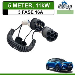 Premium Laadkabel Peugeot e-2008 SUV 5 meter 16A 3-fase - Spiraal