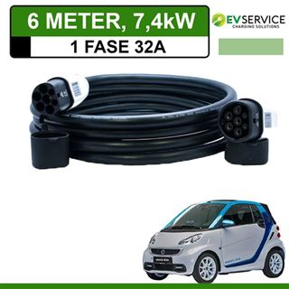 Laadkabel Smart Fortwo Electric Drive 6 meter 32A - Recht