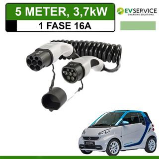 Laadkabel Smart Fortwo Electric Drive 5 meter 16A - Spiraal