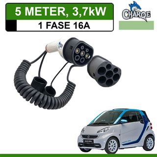 Premium Laadkabel Smart Fortwo Electric Drive 5 meter 16A - Spiraal