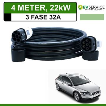 Laadkabel Volvo C30 Drive electric 4 meter 32A 3-fase - Recht