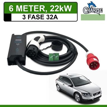 Mobiele lader Volvo C30 Drive electric 6 meter 32A 3-fase