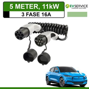 Laadkabel Ford Mustang Mach-E 5 meter 16A 3-fase - Spiraal